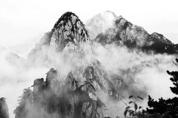 Morning mist in the Haungshan National Park, China (Black and White version)