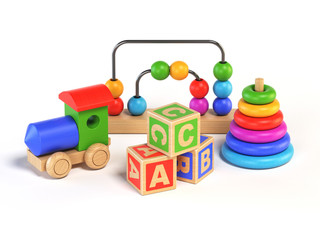 Wooden toys on white background 3d rendering