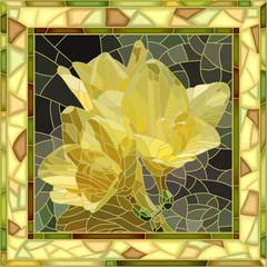 Vector illustration of flowers yellow iris.