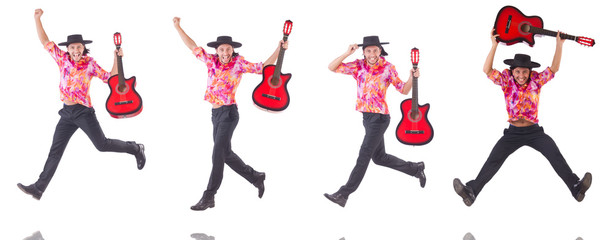 Man with guitar isolated on white