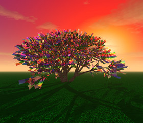 Mysterious tree on a sunset background