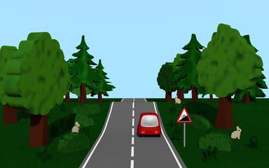 Landstraße mit dem Straßenschild Steigung, Auto,  Bäumen und Häschen