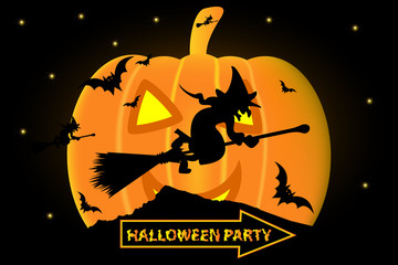 Halloween party, Month as a pumpkin, Witch on a broomstick,