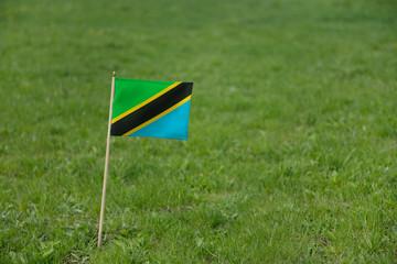 Tanzania flag, Tanzanian flag on a green grass lawn field background. National flag of Tanzania waving outdoor
