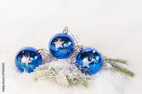 blue christmas balls and silver spruce with blue sparkling background festive winter and finland 100 - Blue Christmas Balls