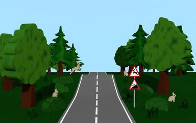 Landstraße mit dem Straßenschild Steigung und Wildwechsel, Bäumen, Häschen und Hirsch