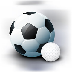 Football and golf balls in a realistic style. Element for your poster.