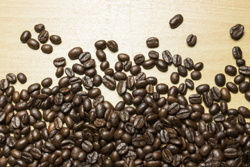coffee concept - roasted coffee beans