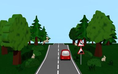 Landstraße mit dem Straßenschild Steigung und Wildwechsel, Autos,  Bäumen, Häschen und Hirsch