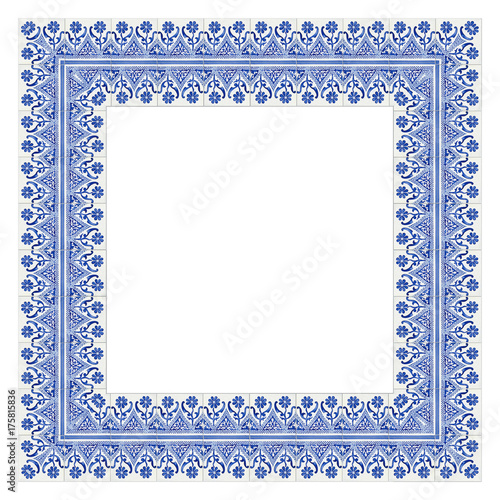 Frame design with typical portuguese decorations with colored ...