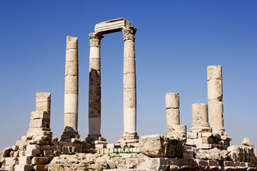 Roman pillar ruins on Citadel top, Amman, Jordan