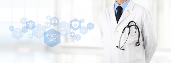 doctor with stethoscope in pocket and medical symbols icons in the background