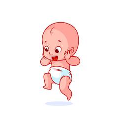 Very happy little baby in the diaper.