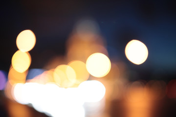 night city life: car and street lamps