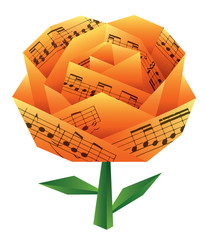 Origami rose with musical notes. Paper rose with musical notes. Vector available.