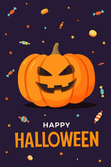 Happy Halloween. Vector illustration pumpkin with smiling face on dark background, candy and lollipops. Template for design of flyers, posters, greeting cards and banners.