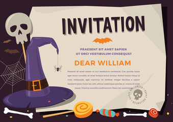 Happy Halloween. Template children invitations with pictures of colored elements of cartoon witch hat, spider web, skull bones, bat, candy canes and chocolates.