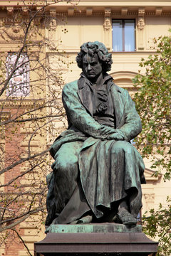 The bronze statue of the great musician Ludwig van Beethoven in Vienna, Austria,