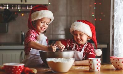 happy children bake christmas cookies.
