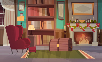 Empty Armchair Near Decorated Fireplace , Home Interior Decoration For Christmas And New Year Holidays Concept Flat Vector Illustration
