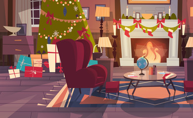 Empty Armchair Near Decorated Pine Tree And Fireplace , Home Interior Decoration For Christmas And New Year Holidays Concept Flat Vector Illustration