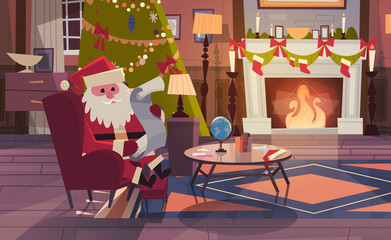 Santa Claus Read Wish List Sitting Near Fireplace In Living Room Decorated For Christmas And New Year Winter Holidays Concept Flat Vector Illustration