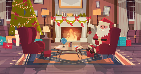 Santa Claus In Living Room Decorated For Christmas And New Year Sit In Armchair Near Pine Tree And Fireplace, Home Interior Decoration Winter Holidays Concept Flat Vector Illustration