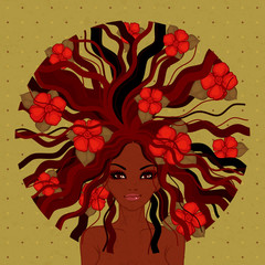 vector illustration of beautiful Afro-American girl with red flowers
