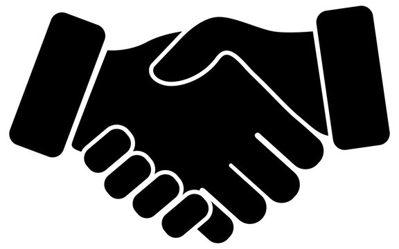 Hand shake black vector icon