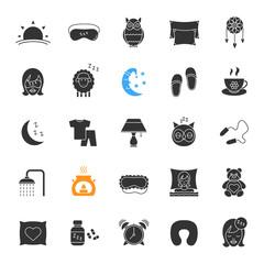 Sleeping accessories glyph icons set