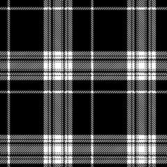 Black and white tartan Scotland style seamless pattern