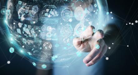 Businessman using holograms datas digital sphere 3D rendering