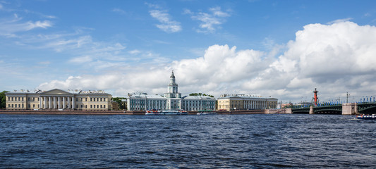 View of the Vasileostrovskaya embankment in Saint-Petersburg