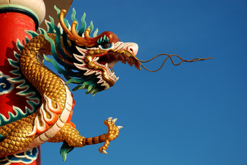 Chinese dragon in front of blue sky.