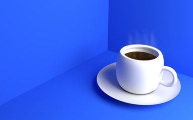 White Coffee cup on the blue background