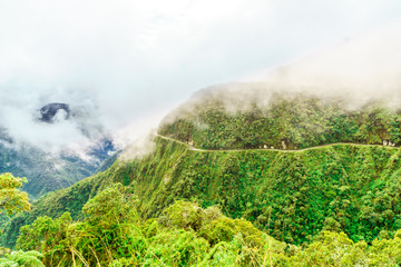 View on Fog over the Death Road in the Yungas of Bolivia