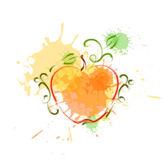 Apple In Watercolor Fruit Icon Paint Splash Background Hand Drawn Banner Flat Vector Illustration