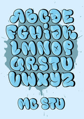 Bubble style graffiti alphabet in set. cool graffiti font