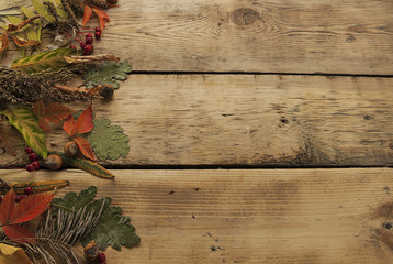 autumn leaves on a wooden surface, background, autumn composition