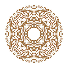 Indian henna mehendi ornament tattoo. Round symmetric vector illustration. Fabric or textile decor