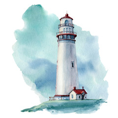 hand drawn watercolor lighthouse illustrstion