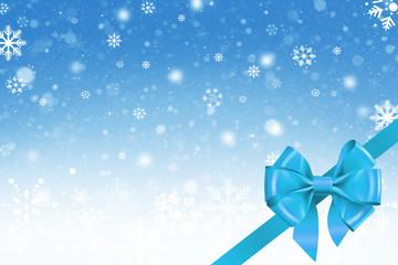 Hintergrund Weihnachten mit Schneeflocken und Geschenkschleife