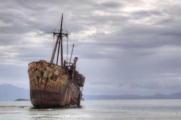 Garden Poster Shipwreck The famous Shipwreck Agios Dimitrios near Gytheio. Laconia - Greece