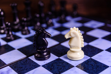 Composition of the chess pieces on a chess board