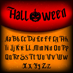 Decorative font named Halloween with evil pumpkin.