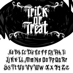 Decorative font named Trick or treat . Vector alphabet.