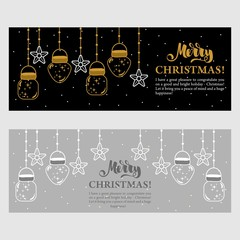 Christmas card with Christmas decorations. Vector illustration. Lettering.