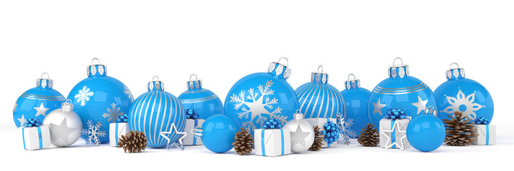 many blue and silver christmas baubles and christmas decorations over white background - panorama - merry christmas concept