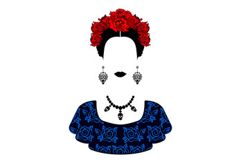 Portrait of the young beautiful mexican woman with a traditional hairstyle. Mexican crafts earrings, skull necklace and red flowers, Traditional Mexican Catrina, death's day. Vector isolated
