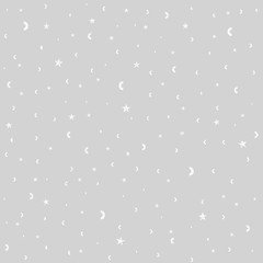 Cracked white stars on gray background seamless pattern. Textile or wrapping paper.